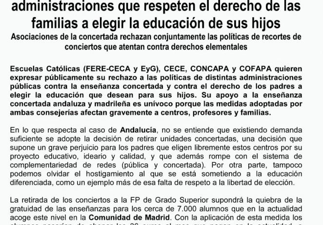 EC, CECE, CONCAPA y COFAPA solicitan a las administraciones que respeten el derecho de las familias a elegir la educación de sus hijos